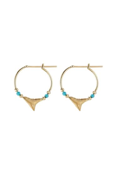 Aurélie Bidermann Fine Jewelry Aurélie Bidermann Fine Jewelry Shark 18kt Yellow Gold Earrings With Turquoise
