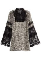 Anna Sui Anna Sui Printed Silk Tunic With Lace - Black
