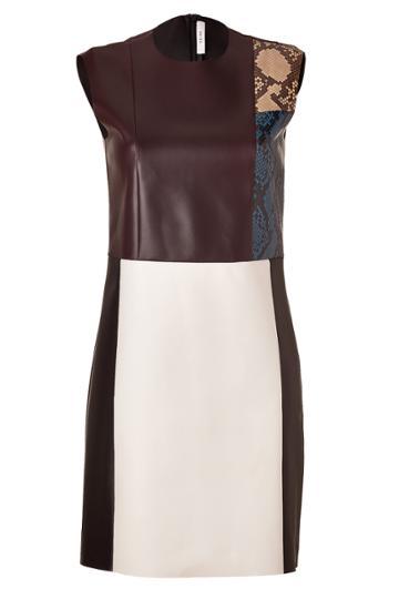 Céline Céline Colorblocked Leather/python Dress