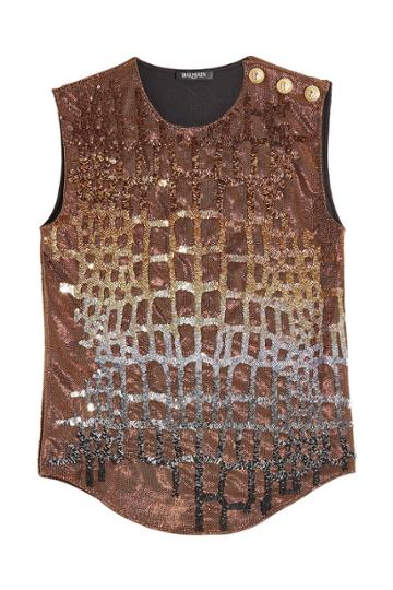 Balmain Balmain Sequin Embellished Tank With Embossed Buttons