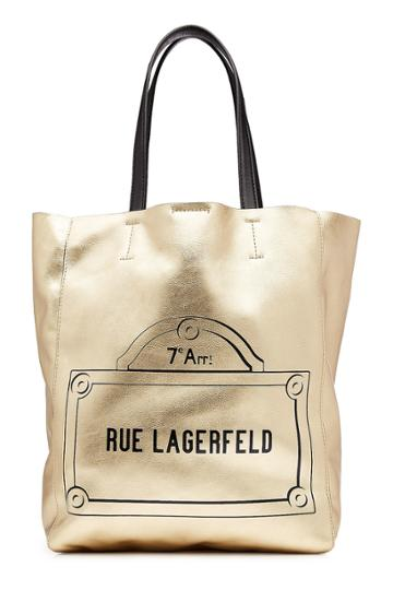 Karl Lagerfeld Karl Lagerfeld Printed Metallic Leather Tote