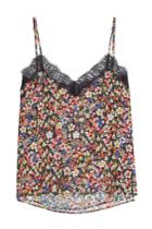 The Kooples The Kooples Floral Print Muslin Cami With Lace
