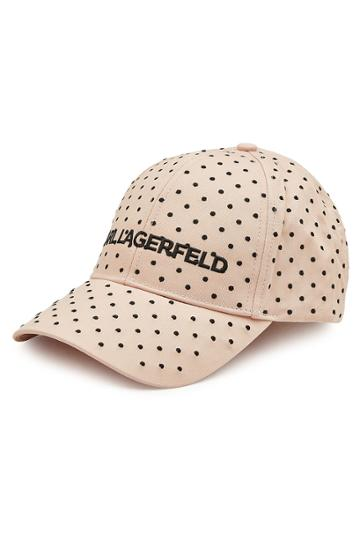 Karl Lagerfeld Karl Lagerfeld Polka Dot Embroidered Cotton Baseball Cap