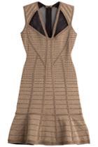 Hervé Léger Hervé Léger Metallic Bandage Dress With Mesh Inserts