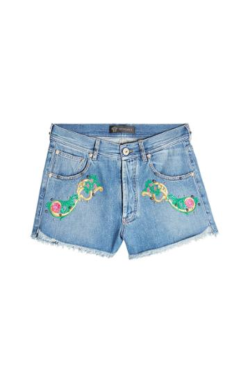 Versace Versace Embroidered Denim Shorts
