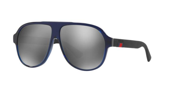 Gucci Gg0009s Blue Aviator Sunglasses