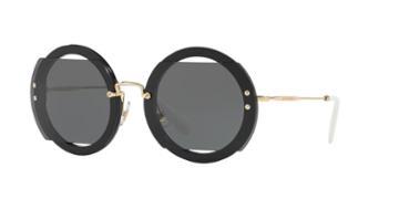 Miu Miu Mu 06ss Black Round Sunglasses