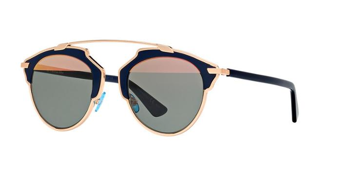 Dior So Real Gold Round Sunglasses