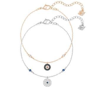 Swarovski Swarovski Crystal Wishes Evil Eye Bracelet Set, Blue, Mixed Plating Dark Multi