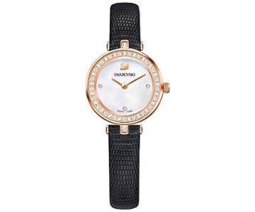 Swarovski Swarovski Aila Dressy Mini Watch, Leather Strap, Black, Rose Gold Tone White Rose Gold-plated