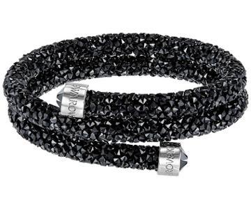 Swarovski Swarovski Crystaldust Double Bangle, Black, Stainless Steel Black Stainless Steel