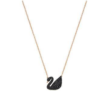 Swarovski Swarovski Iconic Swan Pendant, Black, Rose Gold Plating Black Rose Gold-plated