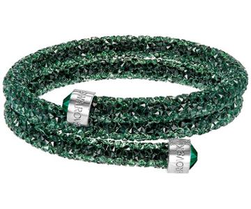 Swarovski Swarovski Crystaldust Double Bangle, Green, Stainless Steel Green Stainless Steel
