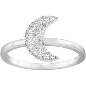 Swarovski Field Moon Ring, White, Rhodium Plating