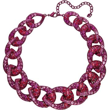 Swarovski Tabloid Necklace, Multi-colored, Pink Lacquer Plating