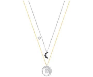 Swarovski Swarovski Crystal Wishes Moon Pendant Set, Black, Mixed Plating Black