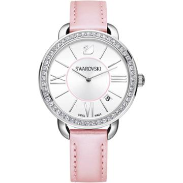 Swarovski Aila Day Watch, Leather Strap, Pink, Silver Tone