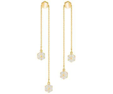 Swarovski Swarovski Lisabel Pierced Earrings, White, Gold Plating White Gold-plated