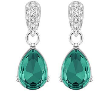 Swarovski Swarovski Water Drop Pierced Earrings Green Rhodium-plated