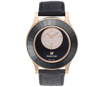 Swarovski Swarovski Octea Classica Asymmetric Black Rose Gold Tone Watch Gray Rose Gold-plated