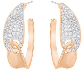 Swarovski Swarovski Guardian Hoop Pierced Earrings, White White Rose Gold-plated