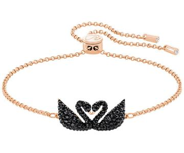 Swarovski Swarovski Iconic Swan Double Bracelet, Black, Rose Gold Plating Black Rose Gold-plated