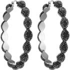 Swarovski Moselle Hoop Pierced Earrings, Gray, Ruthenium Plating