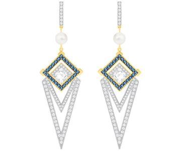 Swarovski Swarovski Golden Pierced Earrings, Blue Light Multi Gold-plated