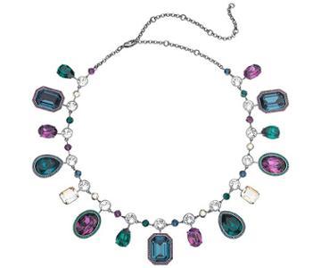 Swarovski Swarovski Tabitha Simmons Necklace, Multi-colored, Ruthenium Plating Teal Rhodium-plated
