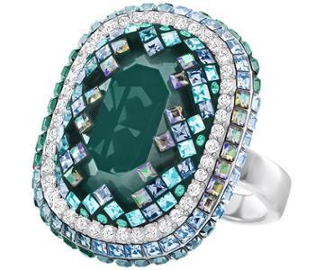 Swarovski Swarovski Gaia Ring, Green Dark Multi Rhodium-plated
