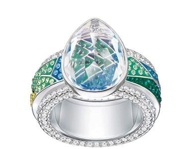 Swarovski Swarovski Fiona Ring, Multi-colored, Rhodium Plating Light Multi Rhodium-plated