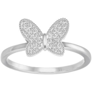Swarovski Field Butterfly Ring, White, Rhodium Plating