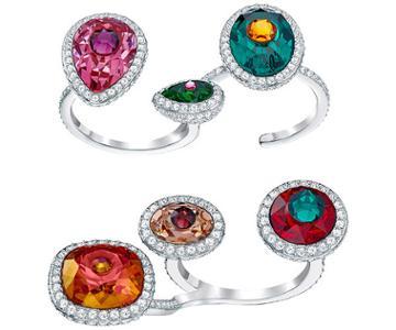 Swarovski Swarovski Luminous Fairy Open Ring, Multi-colored, Rhodium Plating Dark Multi Rhodium-plated