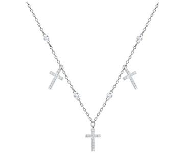 Swarovski Swarovski Mini Cross Choker, White, Rhodium Plating White Rhodium-plated