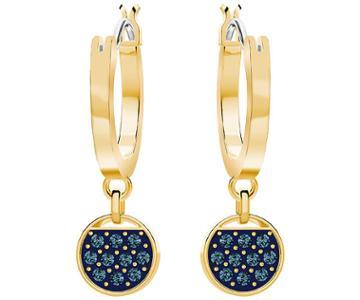 Swarovski Swarovski Ginger Mini Hoop Pierced Earrings, Blue, Gold Plating Teal Gold-plated