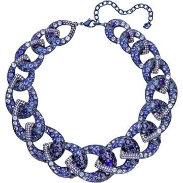 Swarovski Tabloid Necklace, Multi-colored, Blue Pvd Plating