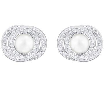 Swarovski Swarovski Elaborate Pierced Earrings, White White Rhodium-plated