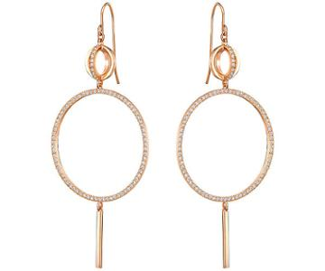 Swarovski Swarovski Flash Long Pierced Earrings, White, Rose Gold Plating White Rose Gold-plated