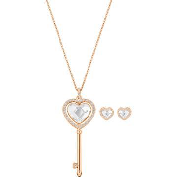 Swarovski Engaged Heart Set, White, Rose Gold Plating