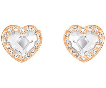 Swarovski Swarovski Engaged Pierced Earrings White Rose Gold-plated
