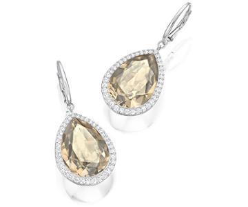 Swarovski Swarovski Deduce Pierced Earrings Brown Rhodium-plated
