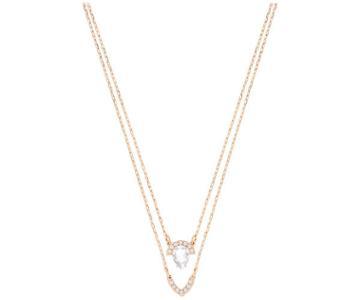 Swarovski Swarovski Gallery Pear Layered Necklace, White White Rose Gold-plated