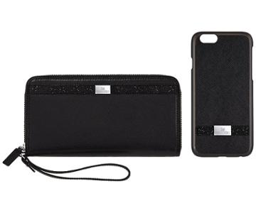 Swarovski Swarovski Smartphone Case With Bumper And Phone Wallet Gift Set, Iphoneâ® 7, Black  Stainless Steel