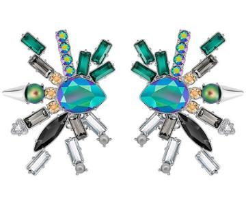 Swarovski Swarovski Helen Clip Earrings, Multi-colored, Palladium Plating Dark Multi Rhodium-plated
