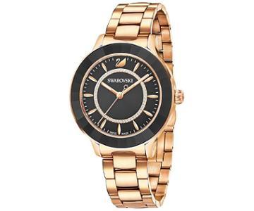 Swarovski Swarovski Octea Lux Watch, Metal Bracelet, Black, Rose Gold Tone Teal Rose Gold-plated