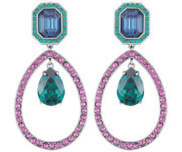 Swarovski Swarovski Tabitha Simmons Drop Pierced Earrings, Multi-colored, Ruthenium Plating Teal Rhodium-plated