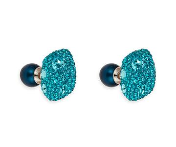Swarovski Swarovski Moselle Double Stud Pierced Earrings, Palladium Plating Teal Rhodium-plated