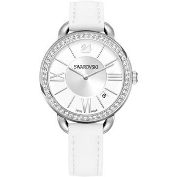 Swarovski Aila Day Watch, Leather Strap, White, Silver Tone