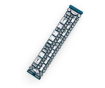 Swarovski Swarovski Domino Large Bracelet, Blue Lacquer Plating White