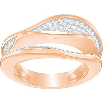 Swarovski Hilly Ring, White, Rose Gold Plating